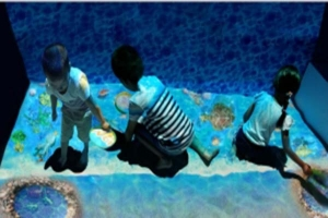 儿童互动投影沙滩捞鱼游戏